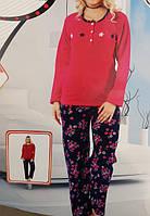 Пижама флисовая теплая цветы