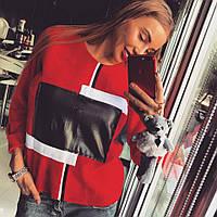 """Свитшот Doratti женский модный на меху """"FENDI"""" декорирован принятом из эко кожи SSdor146"""