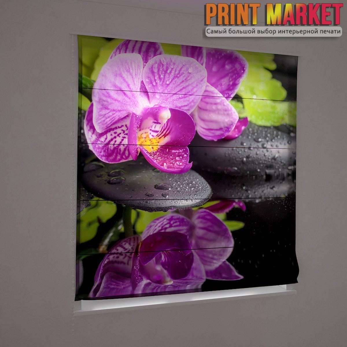 Фотошторы римские мокрая фиолетовая орхидея
