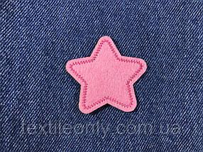 Нашивка звездочка цвет розовый s 50x48 мм