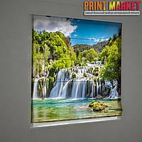 Фотошторы римские водопады в лесу 3д