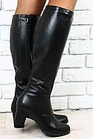 Женский кожаные зимние сапоги на небольшом каблуке