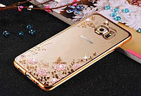 Золотистий силіконовий чохол з квітами, метеликами і камінцями Сваровські для Samsung Galaxy A7 (2016), фото 1