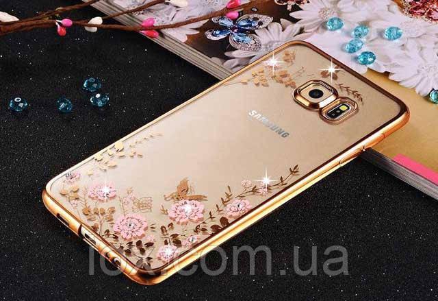 Золотистий силіконовий чохол з квітами, метеликами і камінцями Сваровські для Samsung Galaxy A7 (2016)