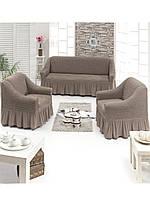 Чехол на 3-х местный диван + 2 кресла ESV Home дымчатый