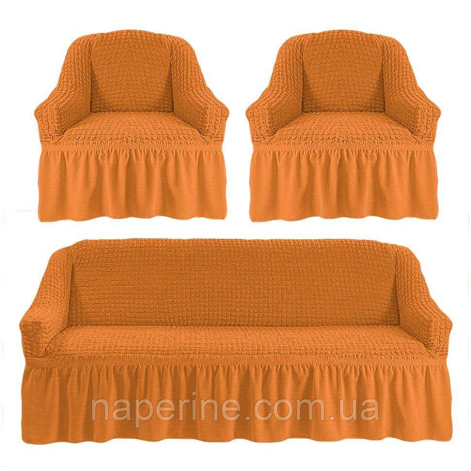 АКЦИЯ!!!Чехол натяжной на диван + 2 кресла ESV Home темный янтарь