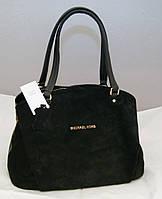 Женская замшевая сумка Michael Kors с двумя змейками, цвет черный Майкл Корс MK