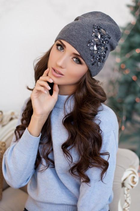 Зимняя женская шапка-колпак «Экзотик» Темно-серый