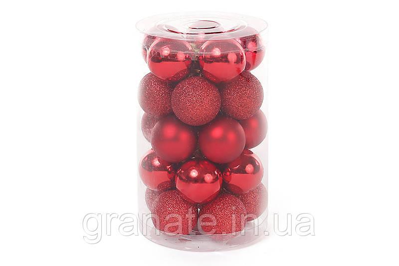 Набор елочных шаров, цвет - красный, 25 шт (3 см)