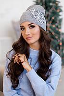 Зимняя женская шапка-колпак «Экзотик» Светло-серый