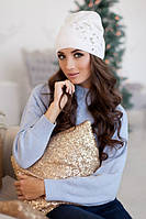 Зимняя женская шапка-колпак «Экзотик» Белый