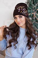 Зимняя женская шапка-колпак «Экзотик» Коричневый