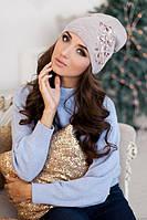 Зимняя женская шапка-колпак «Экзотик» Светлый кофе