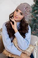 Зимняя женская шапка-колпак «Экзотик» Темный кофе