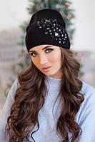 Зимняя женская шапка-колпак «Экзотик» Черный