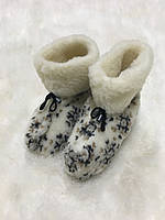 """Чуни """"Снежинки"""" из натуральной овечий шерсти"""