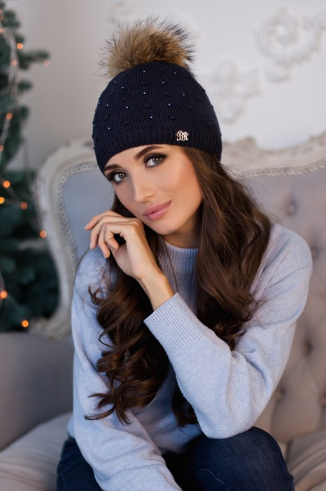 Зимняя женская шапка «Кливия» Джинсовый