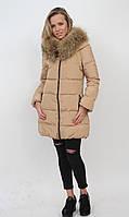 Куртка пуховик монклер женская длинная бежевая