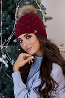 Зимняя женская шапка «Кливия» Бордовый