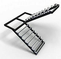 Лестницы. Каркас лестницы с площадкой и  поворотом 180*