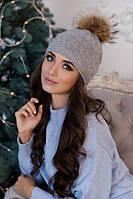 Зимняя женская шапка «Кливия» Светло-серый