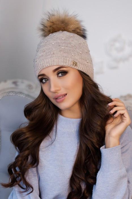 Зимняя женская шапка «Кливия» Светлый кофе
