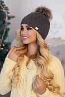Зимняя женская шапка «Кливия» Темно-серый