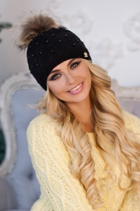 Зимняя женская шапка «Кливия» Черный