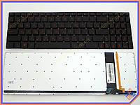 Клавиатура для ноутбука ASUS G550, G550JK, G550JX, Q550, N550, N56, N56DP, N56V, N56VM, N56VJ, N56VZ ( RU Black без рамки с подсветкой). Оригинальная