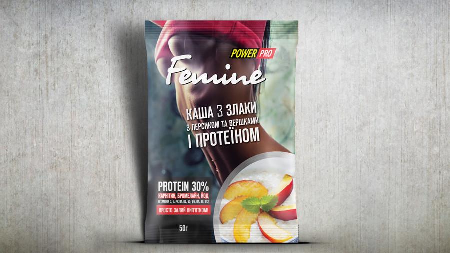 Каша Femine 3 злаки з персиком та протеїном 30%, 50г.