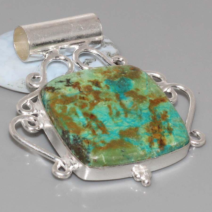 Шикарный кулон с камнем хризоколла в серебре.