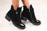 Женские ботинки, демисезонные замшевые, на каблуке