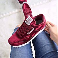 Кроссовки Reebok бордовые бархат Suede Heart Reset Sneaker  c 37 по 41 размер