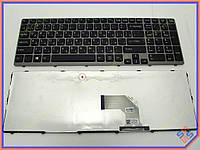 Клавиатура для ноутбука SONY SVE15, E15, E17, SVE15, SVE17  ( RU Black с Серой рамкой). Оригинальная клавиатура. Русская раскладка.