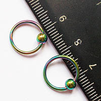 Кольцо сегментное (диаметр 10 мм) с шариком 4 мм для пирсинга сосков. Сталь 316L, радужное анодирование.