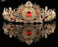 Корона под золото с разноцветными камнями, диадема, тиара, высота 5,5 см.