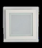 Потолочный светильник врезной 18 ватт квадратный со стеклянным обдом. 4200 К нейтральный свет