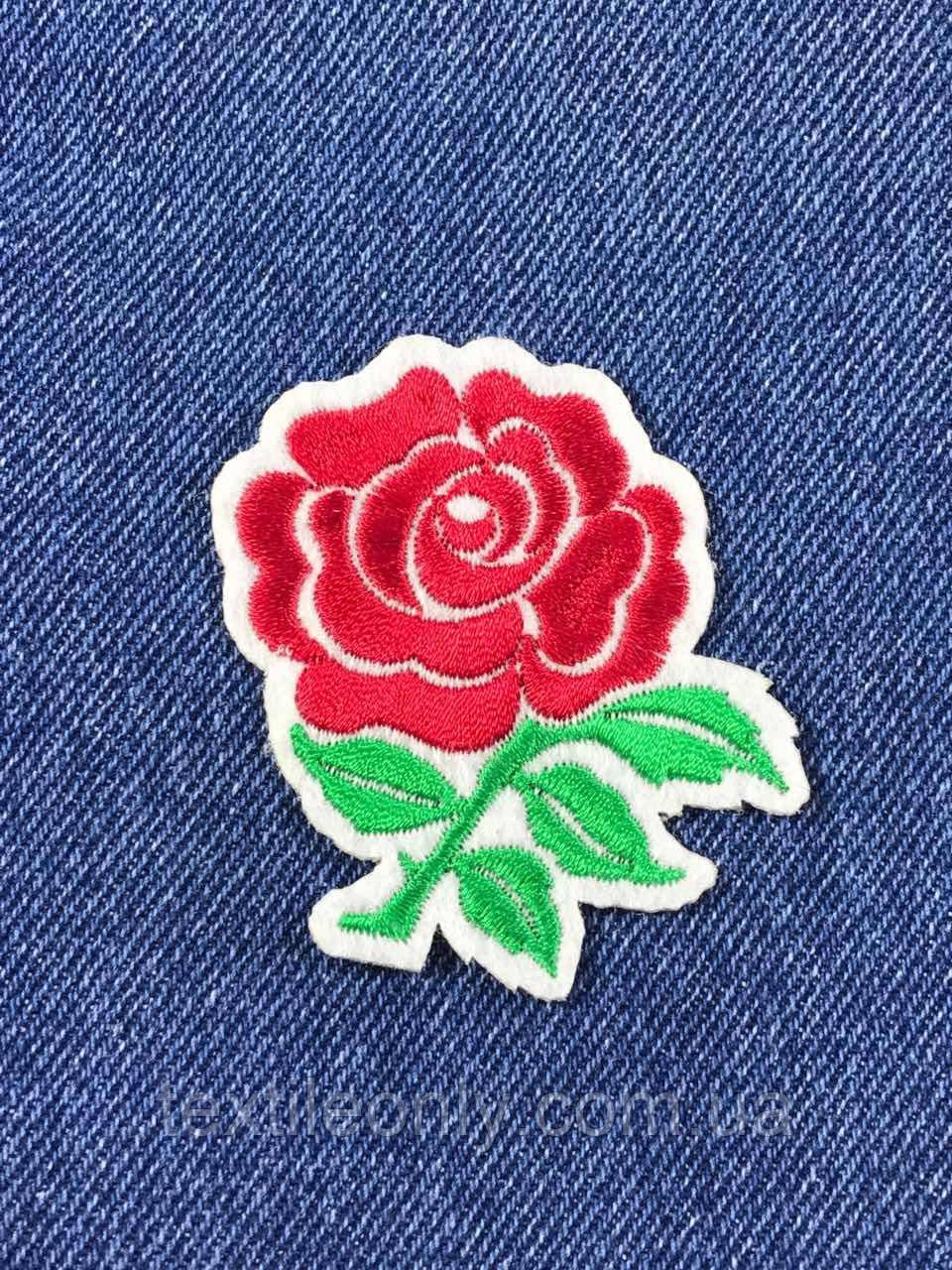 Нашивка Роза белый фетр 60х60 мм