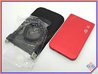 """Карман внешний USB2.0 для HDD 2.5"""" SATA 9.5mm Алюминиевый BET-257U2 RED. Поддержка дисков до 3Tb. В комплекте чехол, кабель USB2.0"""