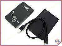 """Карман внешний USB3.0 для HDD 2.5"""" SATA 9.5mm Алюминиевый BET-219U3 Black. Поддержка дисков до 3Tb. В комплекте чехол, кабель USB3.0"""