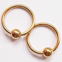 Кольцо сегментное 10 мм с шариком 4 мм для украшения пирсинга. Золотое анодирование. (цена за 1шт), фото 1