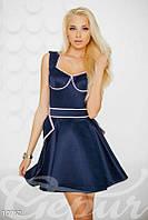 Атласное коктейльное платье синее - 10762[S]
