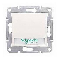 Кнопка Schneider-Electric Sedna с подсветкой и надписью слоновая кость