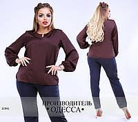 Блуза рукав фонарик R-11941 шоколад