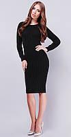 Длинное вязаное платье черный