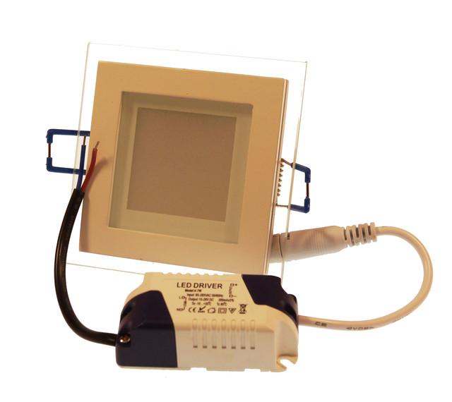 LED светильник квадратный Downlight 6W 4000K (стекло)