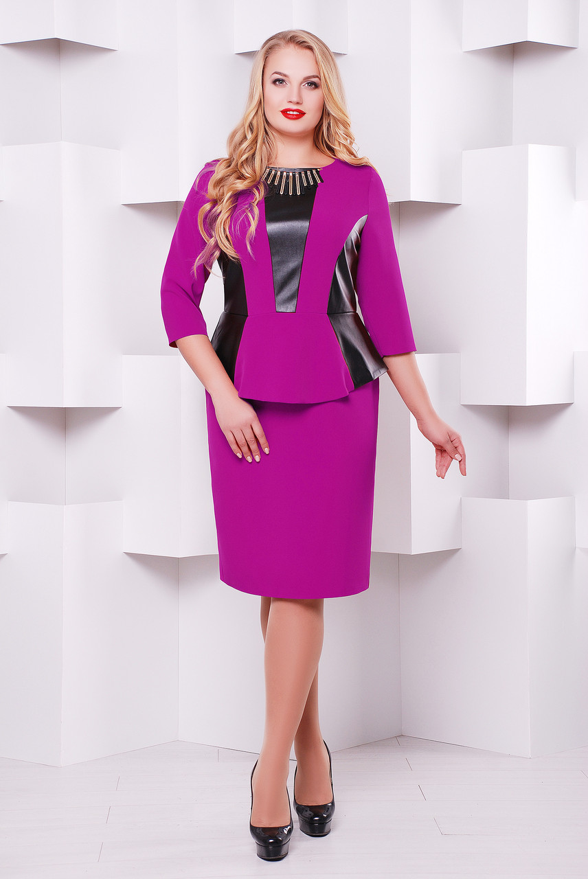 Стильное платье Елена сирень (экокожа)
