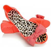 12-17 Красные резиновые женские балетки с открытым носиком NGM-140028 40,39,38