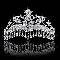 Диадема в восточном стиле, тика под серебро с подвесными камнями, корона, тиара, высота 9 см.