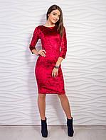 Платье-футляр из велюра
